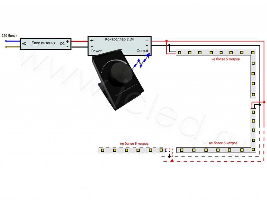 Схема подключения светодиодной ленты с диммером