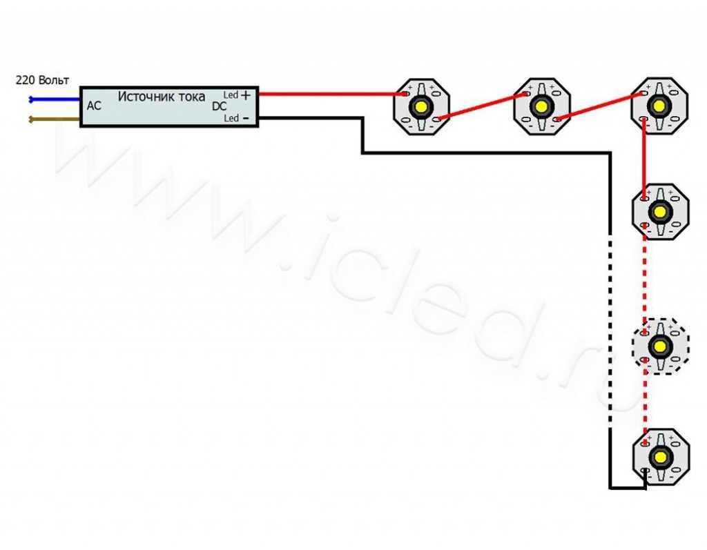 Схема подключения мощных светодиодов