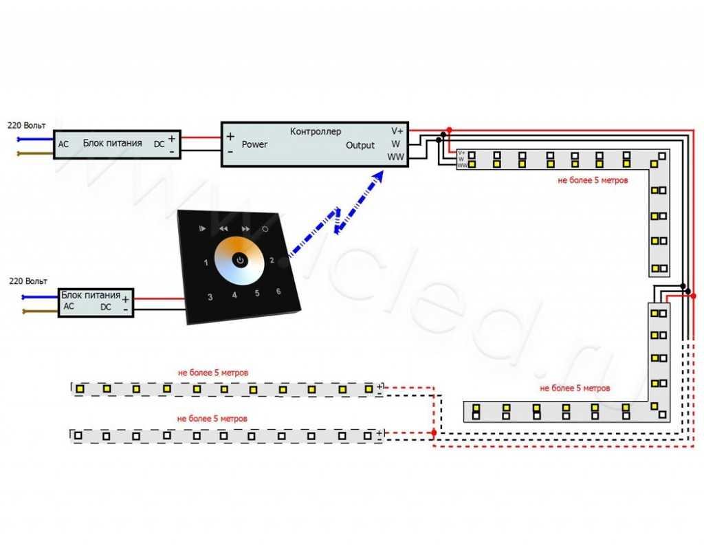 Схема подключения светодиодной ленты MIX