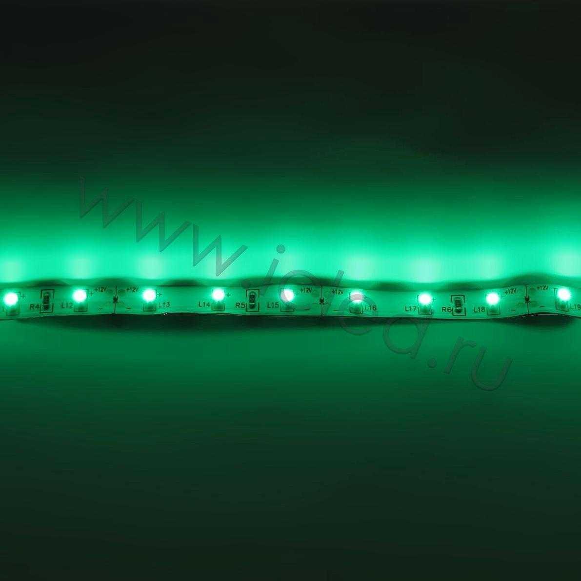 Светодиодная лента Class B, 3528, 60 led/m, Green, 12V, IP33