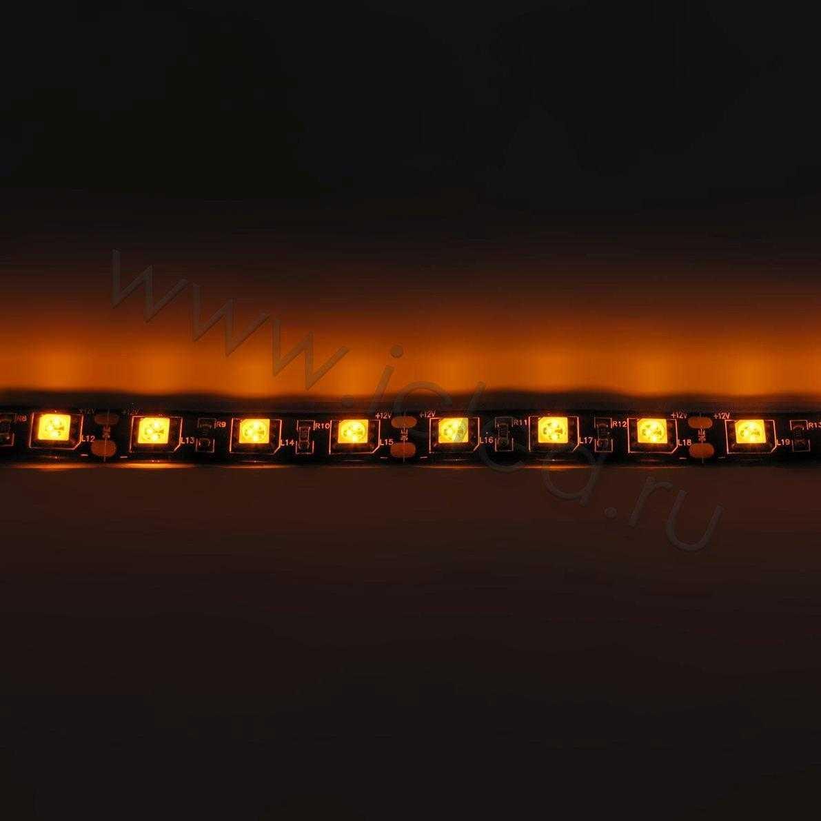 Светодиодная лента Class B, 5050, 60led/m, Yellow, 12V, IP65 (черный шлейф)